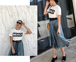 Melissa De Leon - Anthropologie Graphic Tee, Anthropologie Pleated Skirt - Merci