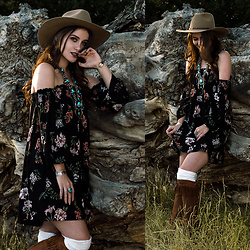 Shelly Stuckman - Cavender's Dress, Old Gringo Boots, Cavender's Cuff, Cavender's Hat - Oasis Ranch