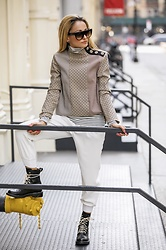 Lauren Recchia - Zara Patchwork Top, Zara Stripe Turtleneck, Joie Cropped Pants, Rag & Bone Combat Boots - Low Key Layers