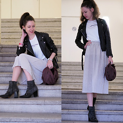 Claire H - Zara Moto Jacket, Lyvem White Shirt, Lyvem Skirt Alva, Perrin Paris Ball Bag - LYVEM Vienna Fashion Week