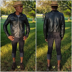 Thomas G - David And Young Stingy Brim Fedora, Xhilaration Faux Leather Bomber, Gap Real Straight Corduroy 1969, Skechers On The Go, Pinterest - Stingy brim + Faux leather + Cuffed jeans