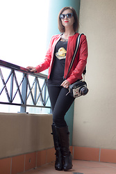 Lindsey Puls - Wilsons Leather Jacket, Modcloth Cheesy Death Star Shirt, Betsey Johnson Camera Purse - Special Occasions & Star Wars