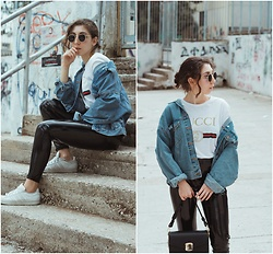 Theoni Argyropoulou - Sunglasses, Pull & Bear Denim Jacket, Gucci T Shirt Look Alike, Vinyl Trousers, Mango Bag, Adidas Sneakers - How To wear Vinyl Trousers on somethingvogue.com