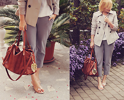 Anca Varsandan - Sammydress Transparent Heels, Sammydress Pants, Zara Bag, Marks & Spencer Short Trench, H&M Keychain, H&M Stripe Top - Office Classic