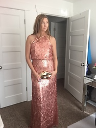 Cindy Batchelor - Marsen Rose Gold Shimmer Gown, Amazon Metal Gold Geometric Clutch $28 - Holiday Rose Gold Shimmer Gown & Gold Geometric Clutch