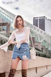 Arielle - Oak + Fort Mesh Top, Zara Distressed Denim Skirt, Zara Leather Bucket Bag, Call It Spring Over The Knee Boots - Trend: The Denim Skirt