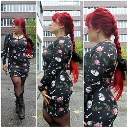 Asu Rocks - Iron Fist Skull & Roses Dress, Vintage Western Boots - Braid