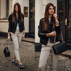 Jacky - Lee Leatherjacket, Zara Pants, Vans Sneakers -  Leather Jacket casual chic styled