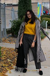 Olivia Corcoran - Forever 21 Silver Hoops, Eggie Long Striped Blazer, Forever 21 Black Mules, Target Black Scarf, Zara Mustard Sweater Top, Zara Gray Patterned Trousers - All the Trends for Fall