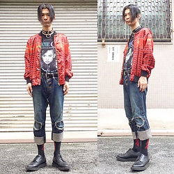 @KiD - Culture Club Boy George, Funk Plus Sandm Choker, Rose Bud Retro Jacket, Christopher Nemeth Crush Denim, (K)Ollaps 出火吐暴威(Davidbowie Sicks), George Cox Rubber Sole - JapaneseTrash212