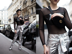 Silver Girl - Brixton Filder Hat, Balenciaga Silver Boots, Asos Silver Pants, Gucci Belt Bag, Mesh - OFF TO MARS | PFW DAY 2