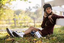 Lauren Recchia - Dr. Martens Boots, Cotton Citizen Waffle Thermal Dress, Officina Del Poggio Silver Bag - Fall For It