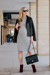 Meagan Brandon - Leather Jacket, Maternity Sweater Dress, Burgundy Boots - Edgy Maternity Outfit