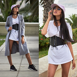 Andrea Chavez - H&M White Tee, Zaful Lace Up Corset Belt, Zaful Wool Coat, Zaful Baseball Hat - KYLIE JENNER INSPIRED LOOK: ZAFUL
