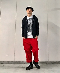 ★masaki★ - Newyorkhat Big Apple, Ch. Jacket, David Bowie & Debbie Harry Tee, Comme Des Garçons Work Pants, Dr. Martens Made In England 3hole - ⚫️⚪️?⚫️