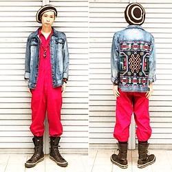 @KiD - Native Beret, Insight Native Denim Jacket, Dickies Red Jump Suits, 666 Studs Bracelet, Converse Very Long All Star - JapaneseTrash215