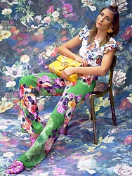 Malia Keana - Fischbacher Mural, Gucci Bag, Mango Ruffle Top, Zara Pajama Pant, Mango Loafers - Floral on florals and Gucci