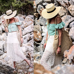 Mad Cat Fashion P. - Zara Offshoulder Top, Zara Crochet Skirt, Primark Straw Bag, Primark Sandals, H&M Straw Hat, Lancaster Paris Watch - MyLook #148