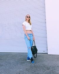 Katie Van Daalen Wetters - Topshop Cropped White Tee, Levi's® Vintage Denim, Air Jordan Royal Blue One's, Givenchy Pandora Bag, Ray Ban Hexagonal Sunglasses - Royal Blues