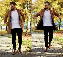 Lukasz Podlinski - Reserved Coat, C&A Sweater, H&M Pants, Zerouv Glasses, Cohnpol Boots - Autumn look