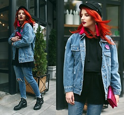 Vladyslava Kozachyshche - Zaful Jeans Jacket, Soroka Earrings, Stradivarius Hat, Bershka Hoodie, Sinsay Shirt, Mohito Bag, Bershka Jeans, Sinsay Boots - Windy October