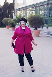 Audrey G. - Manon Baptiste For Navabi Pink Coat, Balsamik Black Pants, Grain De Malice Black Top With Wink Collar, Asos Black Beret, Fiorelli Black Sequins Clutch, Melissa Mary Jane Heels - Fancy