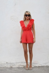 Martina Reynolds - Shein Red Playsuit - Red or dead