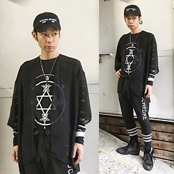 @KiD - (K)Ollaps Noise Music, Sang Bleu Pentagram Long Tee, Marc By Jacobs Key Necklace, Funk Plus White Bracelet, Monochrome Sweat Pants, Puma Mcq - JapaneseTrash218