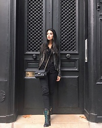 Narjisse Ammor - Allsaints Jacket, The Kooples Top, Chanel Bag, J Brand Denim Jeans, Balmain Boots - Black Out