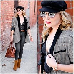 Zia Domic - Free People Plaid Blazer, Mott & Bow Black Denim - Plaid, Lace, Denim.