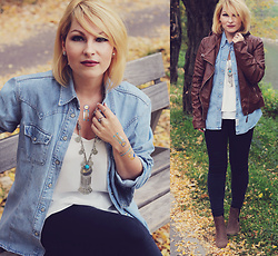 Anca Varsandan - H&M Top, C&A Jeans, Primark Boots, Temporary Tattoos, Necklace, Rings, H&M Studs - Autumn Bohemia
