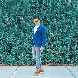 Robert James - Zara Blue Blazer, Oxygen Gray Skinny Jeans, J. Ferrar Brown Oxford Shoes - Beatific