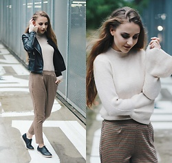 Vera Vonk - Pull&Bear Pants, Primark Sweater, Mango Leather Jacket - A rainy day
