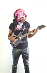 Thomas G - Express Faux Leather Pants, Next Level Apparel Hollywood, Guitar Hero, Cross Bracelet, Cure Breast Cancer Awareness Bandana, Family Dollar Pink/Black Wig, Party City Pink/Neon Sunglasses, Author At Virily - It's a long way to the top, if you wanna rock 'n' roll ?