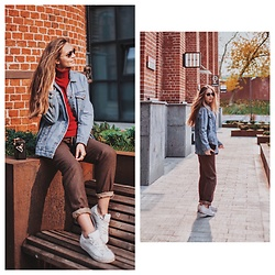 Alina Feminudity - Adidas Sneakers, Christian Dior Bag, Ray Ban Sunglasses, Pull & Bear Denim Jacket - 70s Vibes For Everyday