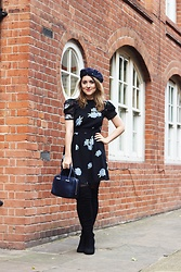 Daisy A - Accessorize Navy Blue Star Beret, Topshop Black And Blue Floral Dress With Bow Back, Aspinal Of London Navy Blue Bowling Bag With Pearl Detail, Asos Black Over The Knee Boots - Black & Blue