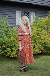 Jamie Matherly - Thrifted Handmade Vintage Dress, Thrifted Staw Bag, Jeffrey Campbell Shoes Witch - The Witch House