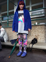 Luna Tiger - Babou Jacket, Romwe Tee Shirt Dress, Dazzle And Jolt Circus Legging, Doc Martens Blueberry Shoes - Life is a cabaret