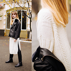 Lolita Sharun - Missy Skins Black Oversize Leather Jacket, Marina Sharun Long White Knitted Dress, Ann Demeulemeester Brushed Leather Riding Boots - Cozy Friday