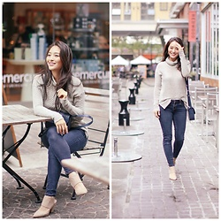 Kimberly Kong - Laila Jayde Knit, Aeropostale Skinny Jeans, Steve Madden Strappy Heels - Brunching with my Favorite at Mussel Bar & Grille