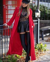Lauren Recchia - Alice + Olivia Red Coat, Balenciaga Thigh High Boots, Rag & Bone Leather Shorts, Cinq A Sept Sheer Top, Brixton Hat - Bisous