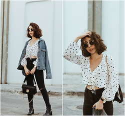 Theoni Argyropoulou - Zaful Polka Dots Blouse, Pull & Bear Denim Jacket, Bershka Skinny Jeans, Mango Bag, Sunglasses, Zara Ankle Boots, Watch - Meet the Polka Dots Trend on somethingvogue.com