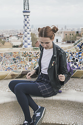 Dominika C - Shein Black Jacket, Shein Buttoned Skirt, New Balance, Fjällraven Kanken - Barcelona