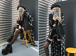 Vita Chen - Vii & Co. Leather Beret, Vii & Co. Gradient –Check Long Dresses, Vii & Co. Leather Biker Bf Vest, Vii & Co. Thigh High Stockings, Vii & Co. Lace Up Platform Boots, Vii & Co. Laser Leather Iphone Case, Vii & Co. Japanned Leather Shorts - Black is my color