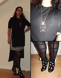 Selina M - Zara Black Top, Vintage Checked Shorts, Vintage Man Face Necklace, Lola Ramona Polka Dot Bow Boots - We are stars of the galaxy