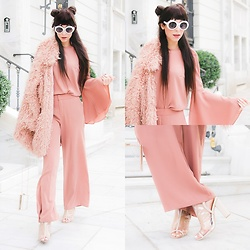 Marina Mavromati - Na Kd Faux Fur Coat, Na Kd Trumpet Sleeve Top, Na Kd Flared Suiting Pants, Chic Me Clear Lace Up Peep Toe Booties - Dahling, I'm blushing...