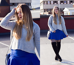 Emma Reay - Shein Grey Jumper, Light In The Box Blue Skirt - Cosy Knits
