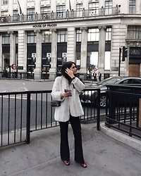 Justyna Lis - New Look Flared Pants, Zara Leather Boots - London's baby