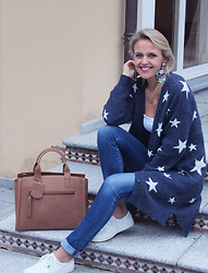 Susanne Bender - Chicwish Stars Cardigan, Burkely Leather Handbag, Keds Sneakers, Aldo Statement Earrings - Stars and ...