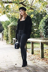 Daisy A - Asos Black Beret, River Island Black Tassled Chunky Knit Cardigan, Asos Washed Black High Waisted Skinny Jeans, River Island Suede Mid Heel Black Ankle Boots, Aspinal Of London Navy Handbag - Boo! Happy Halloween!